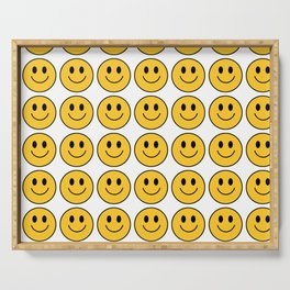 Smiley Face Pattern - White Background Variant Serving Tray