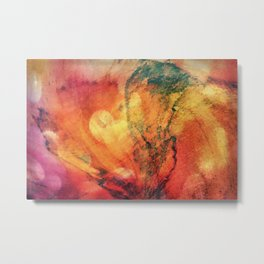 A leaf In The Wood Aflame Abstract Metal Print