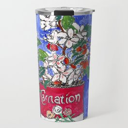 Apple Blossom Bouquet in Evaporated Milk Can Still Life Painting on Blue Travel Mug