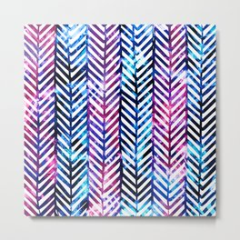 Purple and Blue Herringbone Metal Print