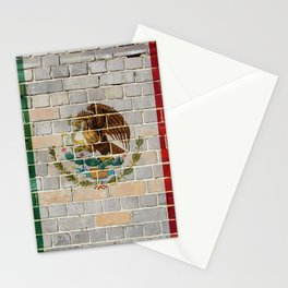 Mexico flag on a brick wall Stationery Cards