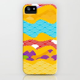 Summer bright pattern  scales simple Nature background with Chinese wave circle pattern iPhone Case