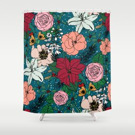 Cute colorful winter floral and white dots design Shower Curtain