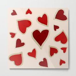 Ditsy dark hearts for lovers Metal Print