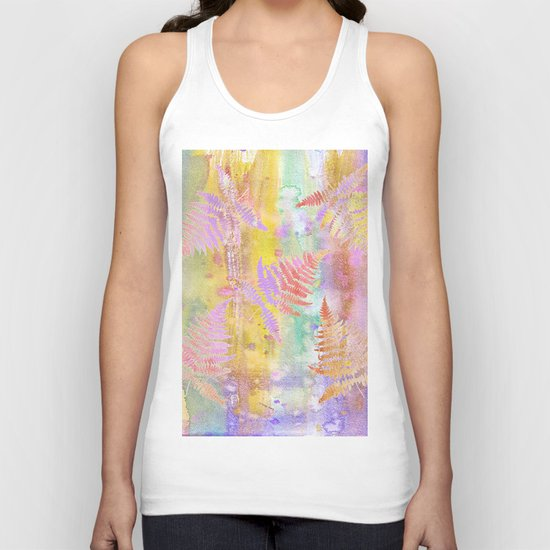 Colorful Fern Leaves W Unisex Tank Top