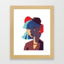 Girl Wearing a Red Hat Framed Art Print