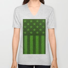 The grass and stripes / 3D render of USA flag grown from grass Unisex V-Neck