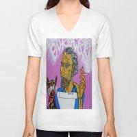 bukowski V-neck T-shirts featuring Bukowski by Pluto00Art / Robin Brennan