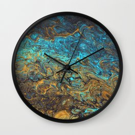Blue, Gold, and Black Acrylic Pour Wall Clock