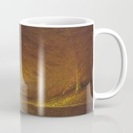 Sunburst through the Autumn Trees by the River landscape by H. Joiner Coffee Mug