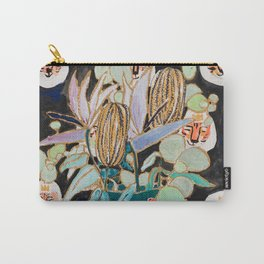 Dark Floral Still Life with Banksia Pods and Tigers Carry-All Pouch