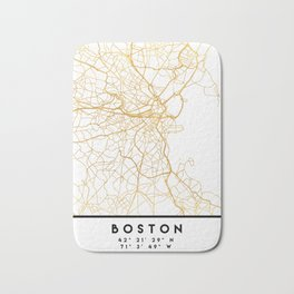 BOSTON MASSACHUSETTS CITY STREET MAP ART Bath Mat