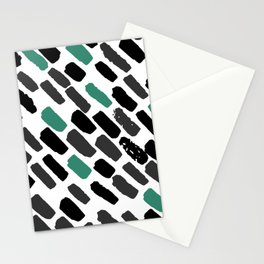 Oblique dots black and white green Stationery Cards
