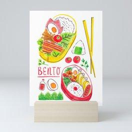 Japanese Bento Rice Lunch Box with Chopsticks & Onigiri Mini Art Print
