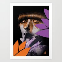 "karen hallion Art Prints featuring ""Karen O"" by Samy Vincent"