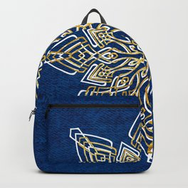 Blue, White, & Gold Snowflake Backpack