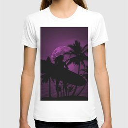 Purple Dusk with Surfergirl in Black Silhouette with Longboard T-shirt