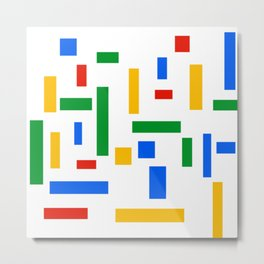 Abstract Google Art Red Green Blue Yellow on White Metal Print
