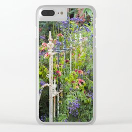 Summer Flowers overgrown rusty fence. Clear iPhone Case