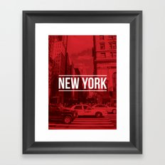 New York Red Framed Art Print