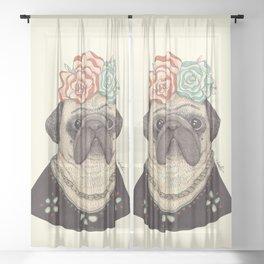 Frida Pug Kahlo Sheer Curtain