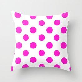 Polka Dots (Hot Magenta/White) Throw Pillow