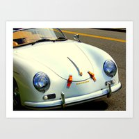 porsche Art Prints featuring Porsche by Jensen Merrell Designs