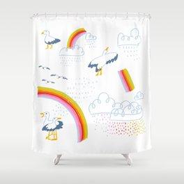 Scotland Seagulls and Rainbows Shower Curtain