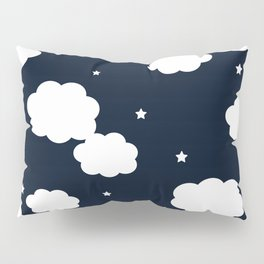 clouds and stars navy Pillow Sham