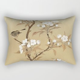 White Pear Blossoms And Sparrow Rectangular Pillow