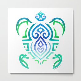 Tribal Turtle on White Metal Print