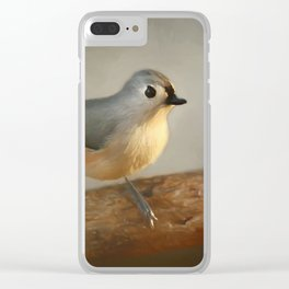 Winter Tufted Titmouse Clear iPhone Case