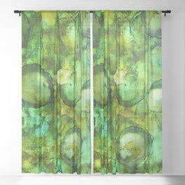 Abstract Green Blobs Sheer Curtain