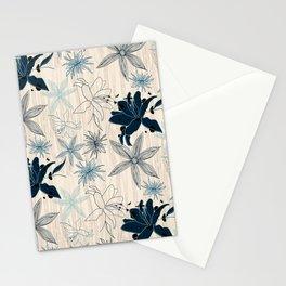 Flowers - wood grain - cream and Indigo Stationery Cards