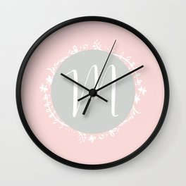 Garland Initial M - Grey Wall Clock