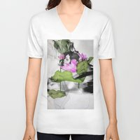 lotus flower V-neck T-shirts featuring Lotus by SEVENTRAPS