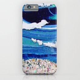 Major Blue Ocean Acrylic Abstract Painting iPhone Case