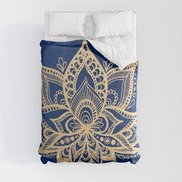 Gold and Blue Lotus Flower Mandala Comforters