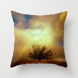 English landscape with tree and rainbow, UK Throw Pillow