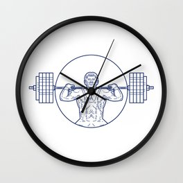 Strongman Lifting Weight Mono Line Wall Clock