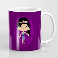 amy sia Mugs featuring Amy by Sombras Blancas Art & Design
