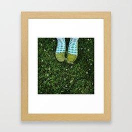 Shamrock Socks in a Green Clover Field Framed Art Print