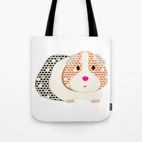 guinea pig Tote Bags featuring Guinea Pig Patterned Guinea Pig by Upcyclepatch