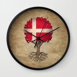 Vintage Tree of Life with Flag of Denmark Wall Clock