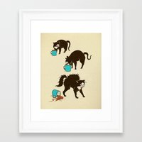 coffee Framed Art Prints featuring Coffee Cat by Boots