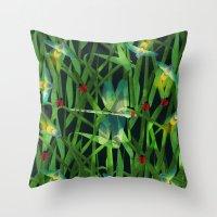fireflies Throw Pillows featuring fireflies by kociara