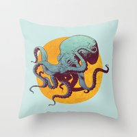 octopus Throw Pillows featuring Octopus by Eric Persson
