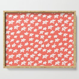 Stars Living Coral Serving Tray