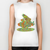 trout Biker Tanks featuring Psychedelic Rainbow Trout by Rebecca Wang