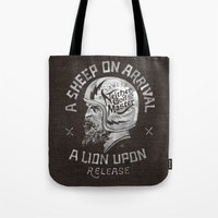 atheist Tote Bags featuring A sheep on arrival /Helmet by BMD Design